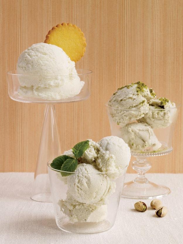 Homemade pistachio ice cream