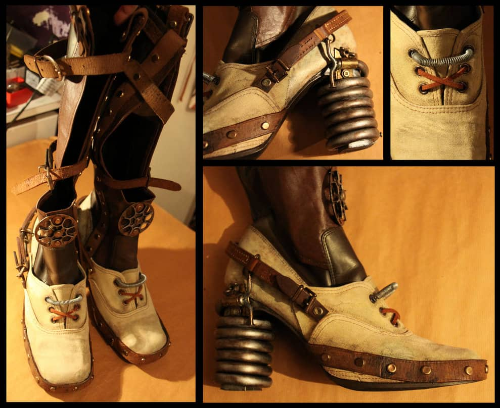 Industrial steampunk boots