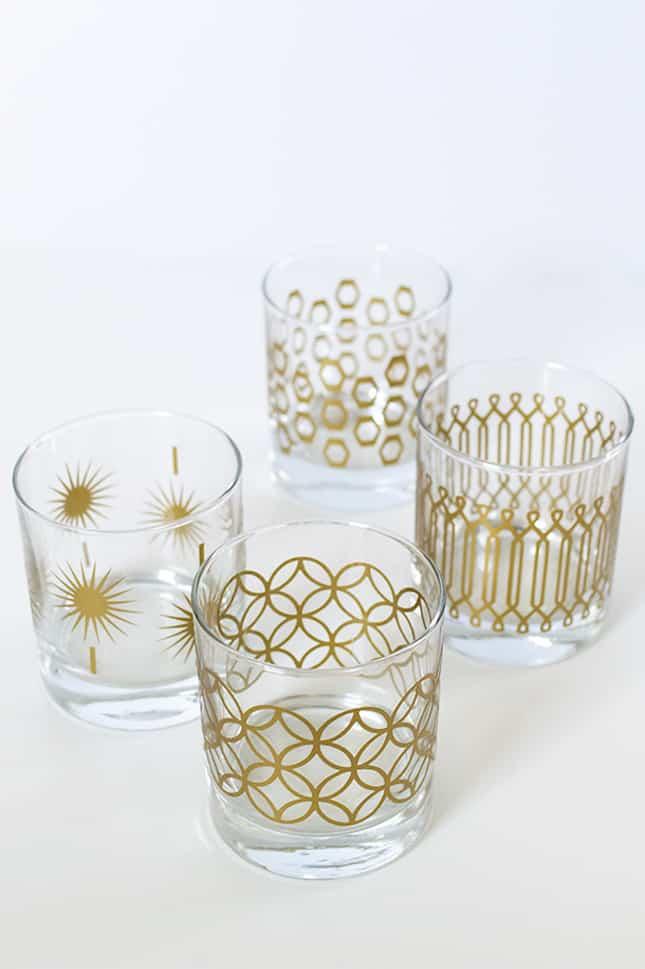 metallic-print-glassware