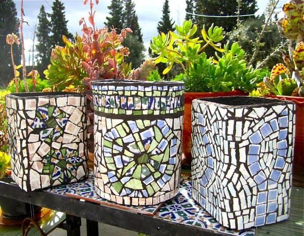 Mosaic ceramic planters