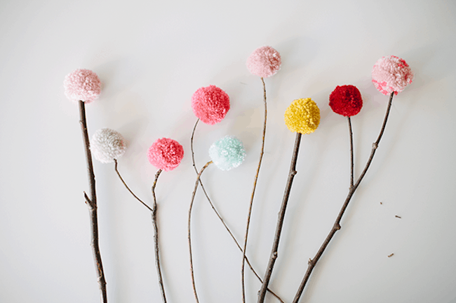 Pom pom and branch bouquet
