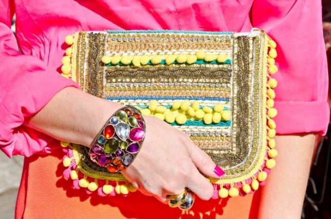 Pom pom statement clutch
