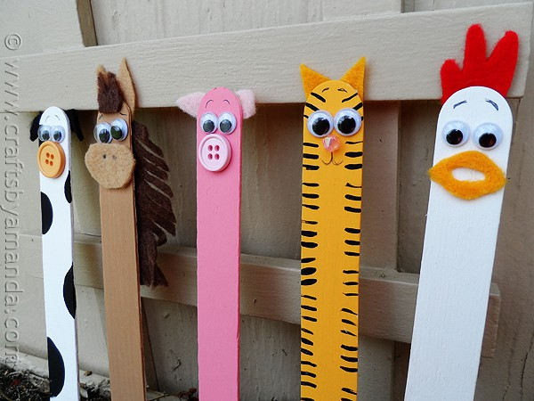 Popsicle stick barn animals