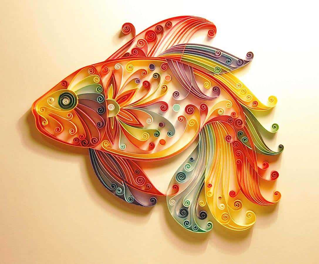 Quilled fish art