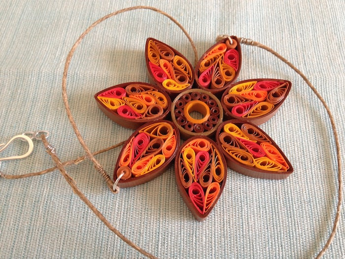 Quilled sunflower necklace
