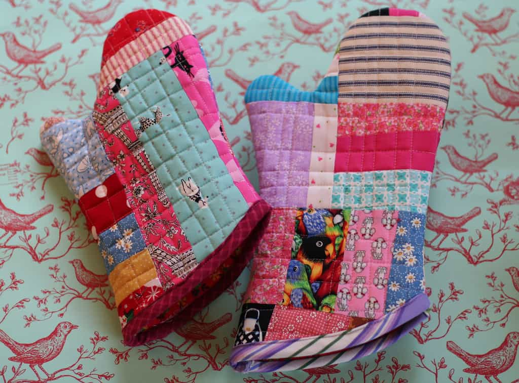 Quilted fabric scraps over mitts