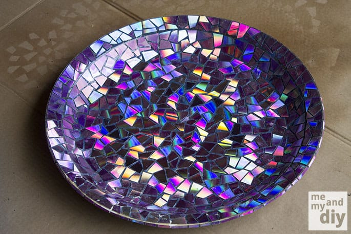 Reflective mosaic bird bath