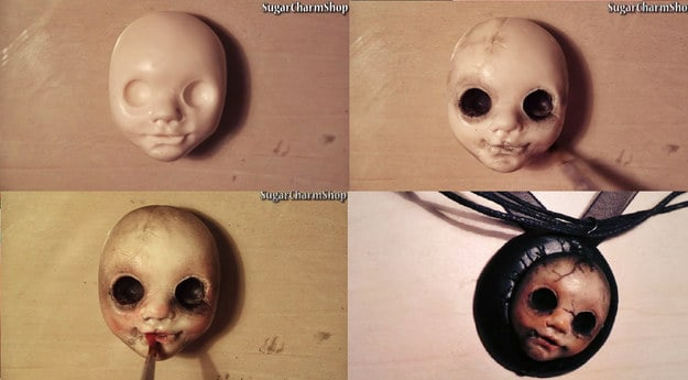 Scary doll pendant