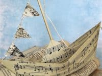 Sheet music origami sail boat 200x150 Inspirational Book Page Art Designs