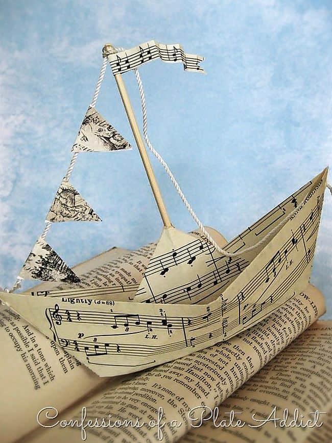 Sheet music origami sail boat