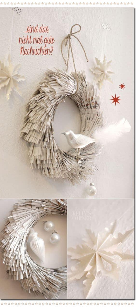 Shredded book page door wreath