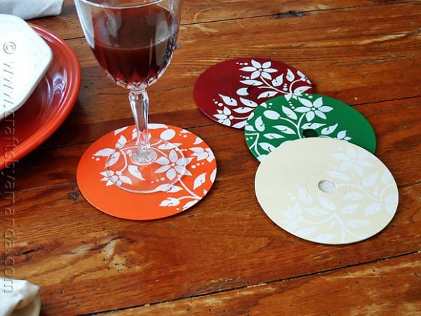 Stenciled CD and DVD coasters
