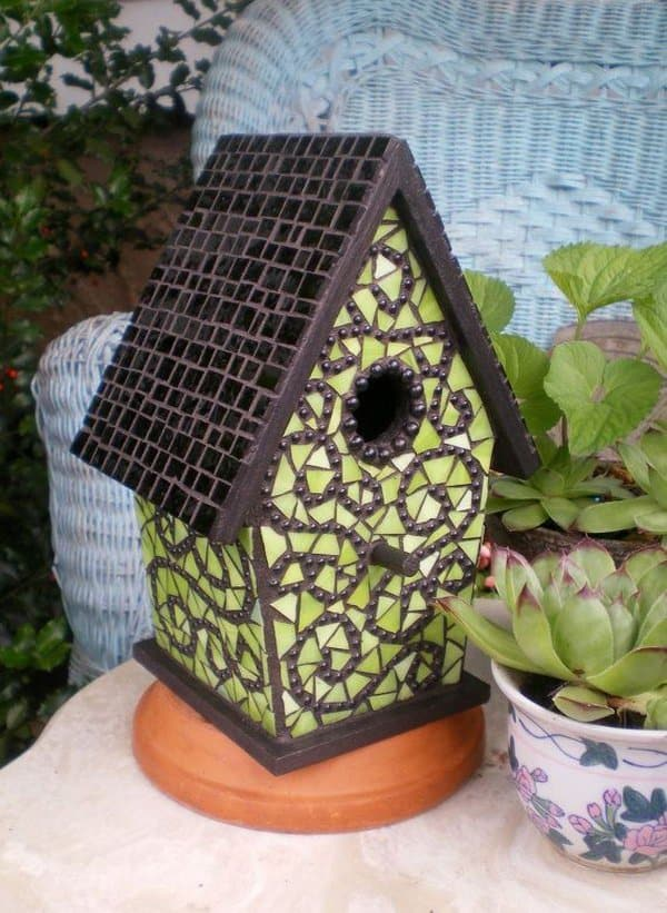Tile moasic birdhouse