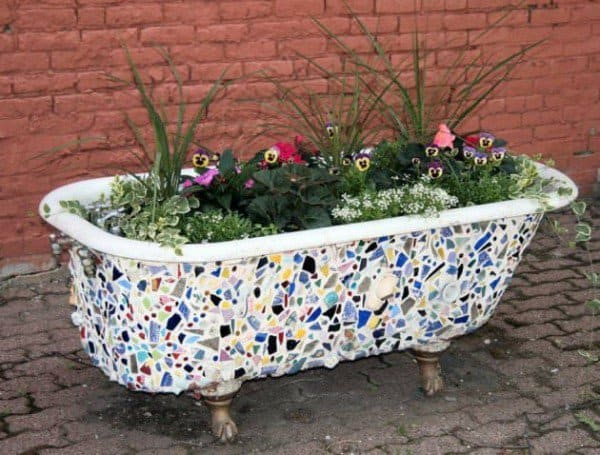Tile mosaic bath tub planter