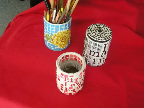 Tiled pencil holders