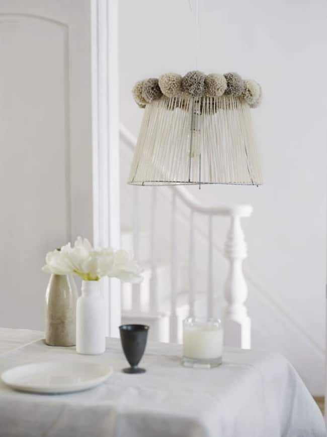 Unique pom pom lamp shade