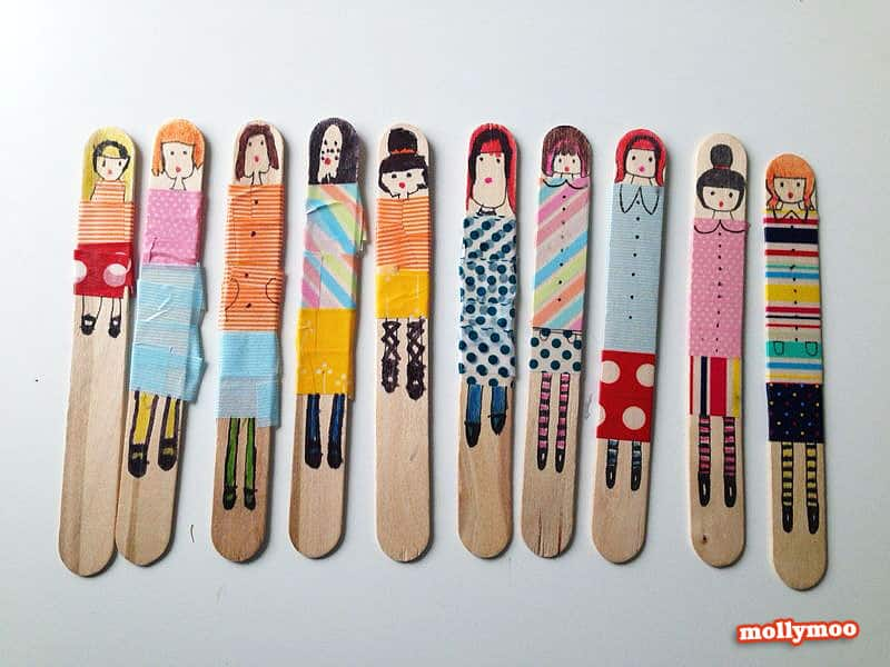 Washi tape popsicle stick dolls
