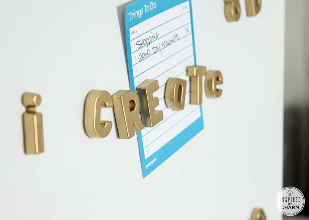 Gold letter magnets