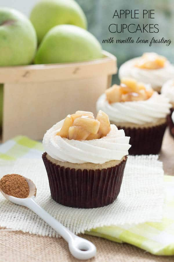 Apple pie cupcakes with vanilla butterceam frosting