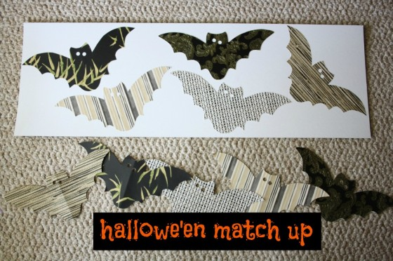 Bat themed Halloween matching game