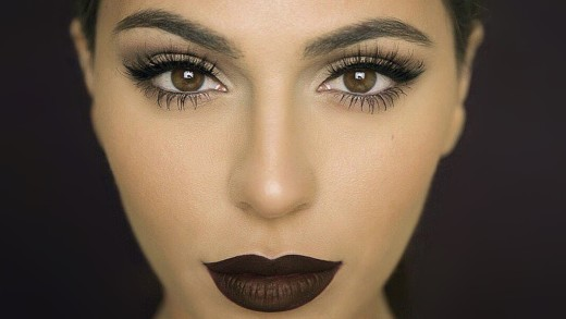 Brown lips and taupe eyes