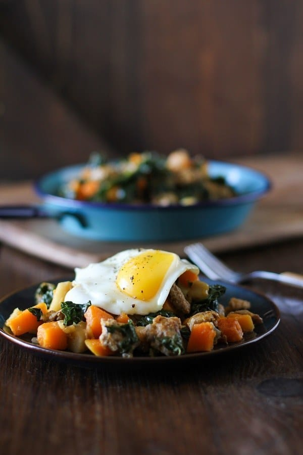 Butternut sqaush hash with apples, sausage, and kale