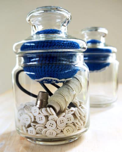 Button storage and pin cushion jars