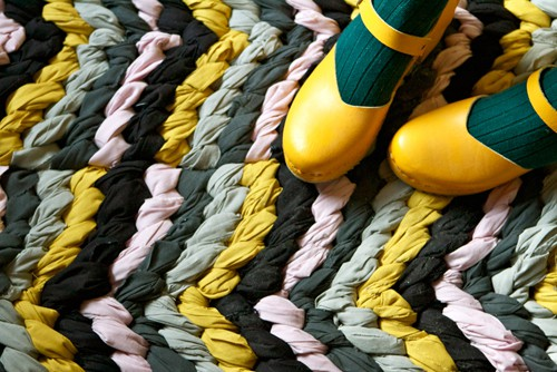 Chevron friendship bracelet rug