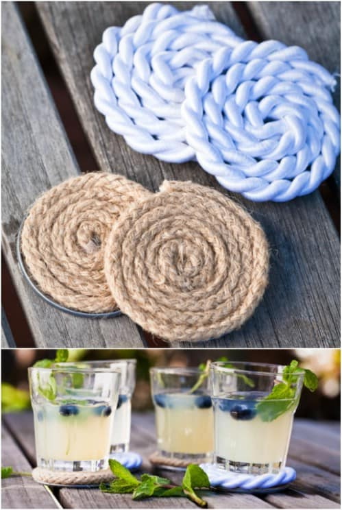 Coiled rope coasters