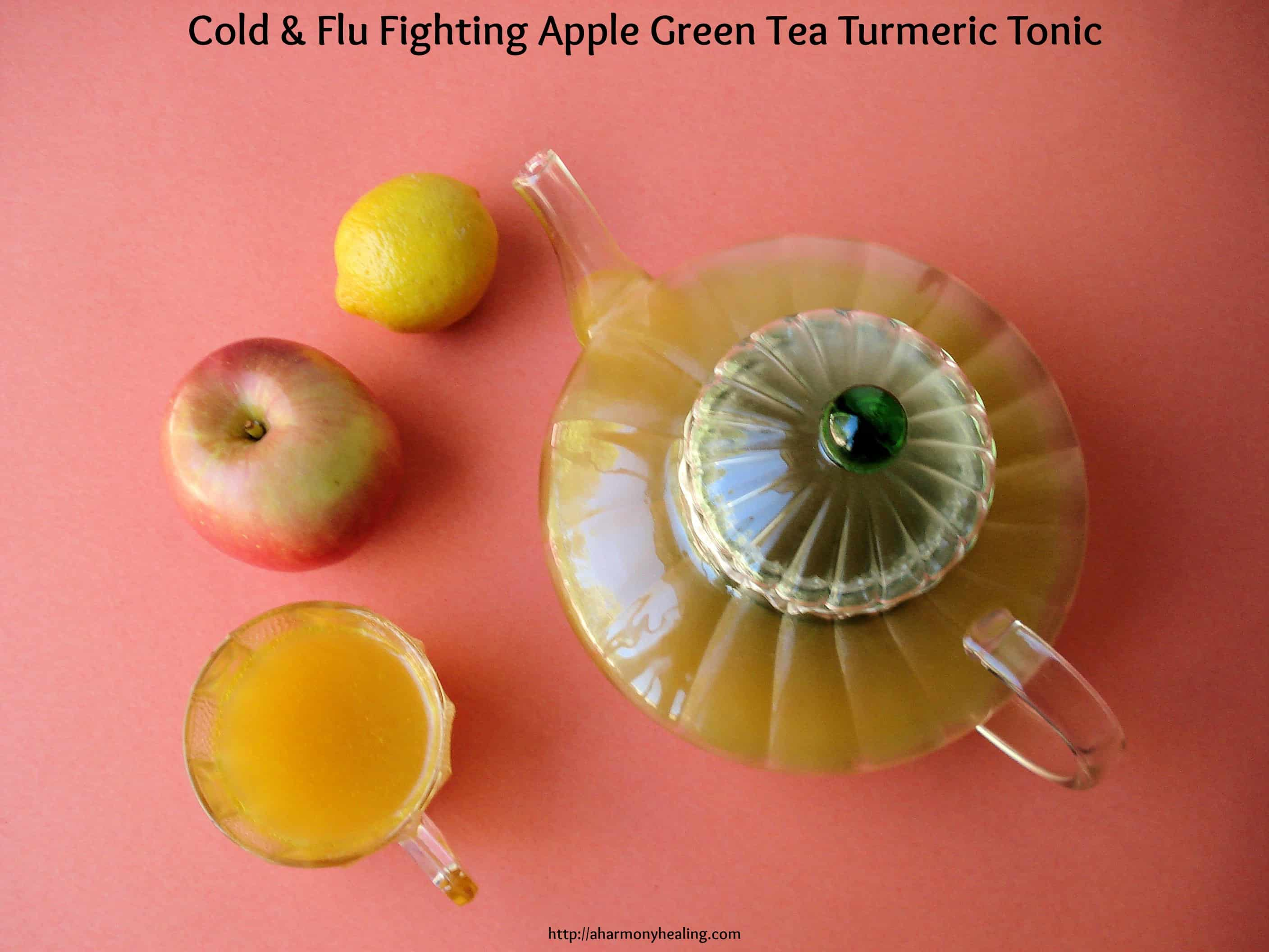Cold and flu fighting apple green tea turmeric tonic