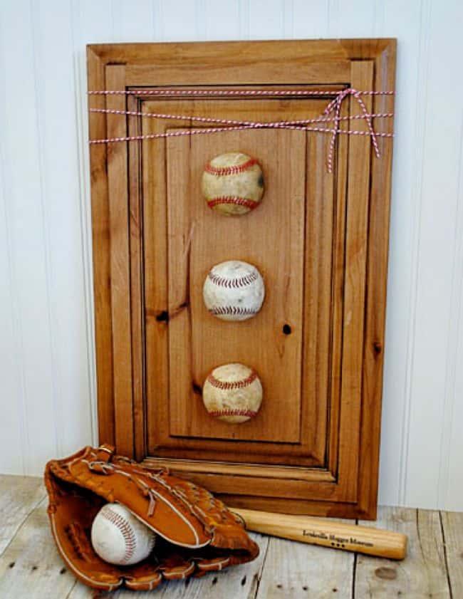 DIY Wooden shutter baseball decor