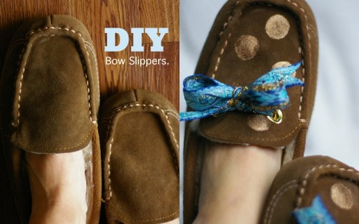 DIY bow slippers