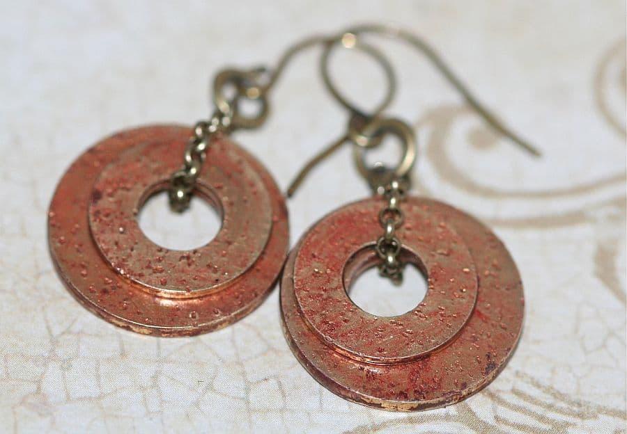 DIY distressed washer earrings