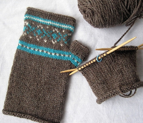 Fair Isle knitted fingerless gloves