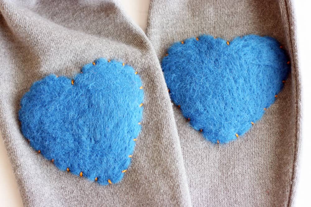 Fuzzy felted Heart Elbow Patches