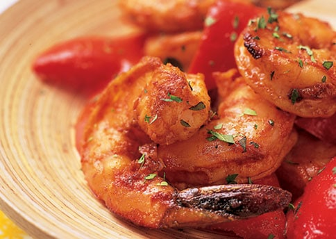 Garlic roasted shrimp with red peppers and smoked paprika