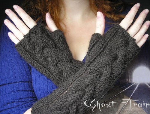 Ghost Train fingerless gloves