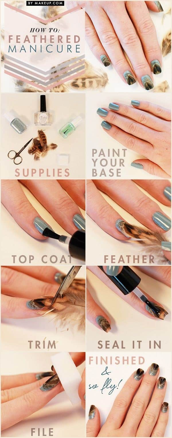 Gold feathered manicure