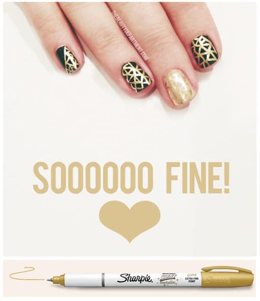 Gold metalic Sharpie mani