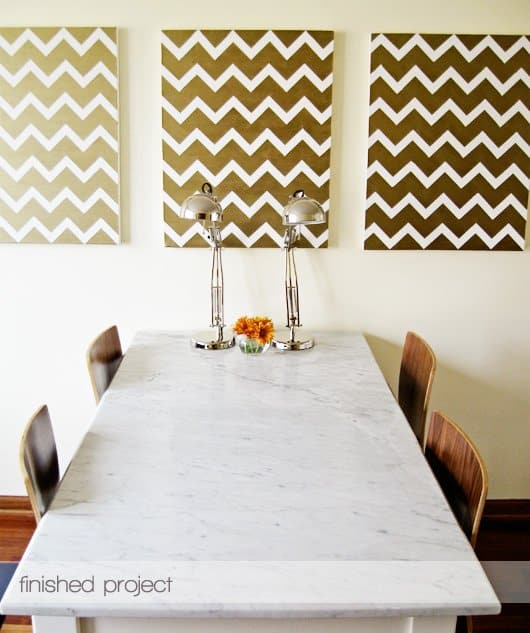 Golden chevron wall paintings