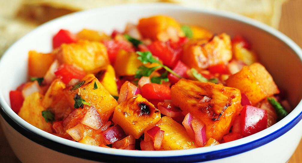 Grilled Pineapple Mango Salsa With Lime Tequila And Smoked Paprika