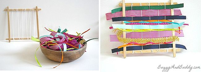 Homemade weaving looms with popsicle sticks