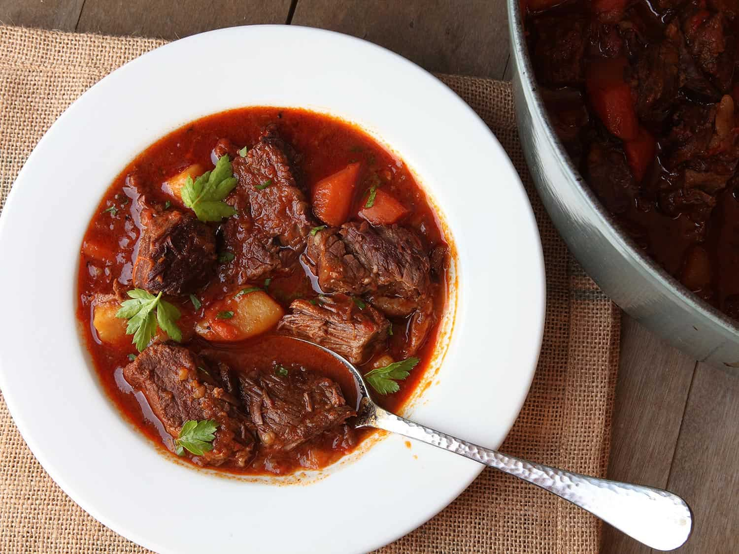 Hungarian goulash (beef stew with paprika)