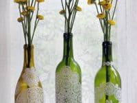 Lace wine bottles 200x150 Gorgeously Inspiring Lace Decoupage Crafts