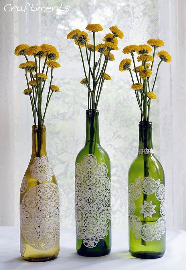 Lace wine bottles