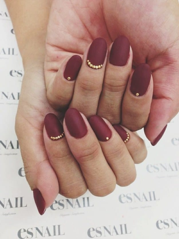 Matte burgundy with gold detail