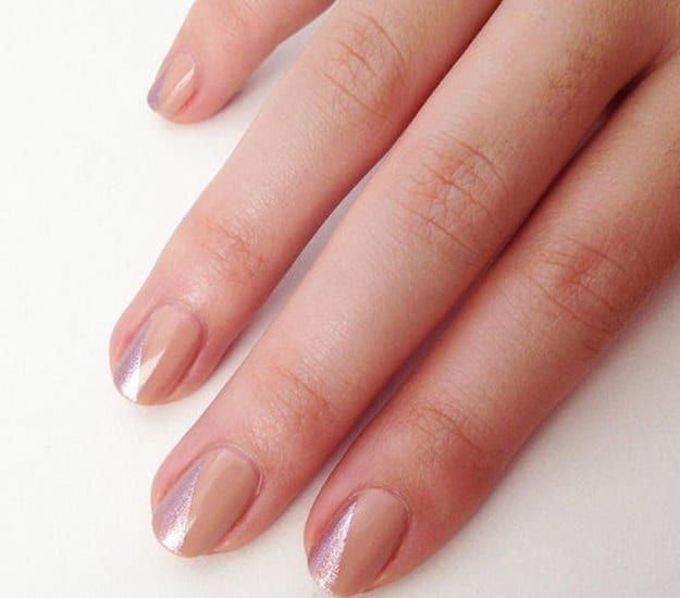 Minimalist nude and metallic mani