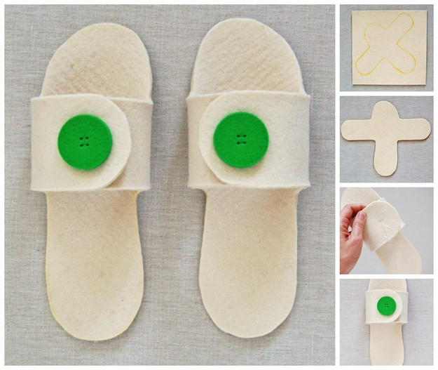 Open toe felt slippers