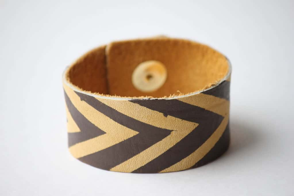Painted chevron leather cuff