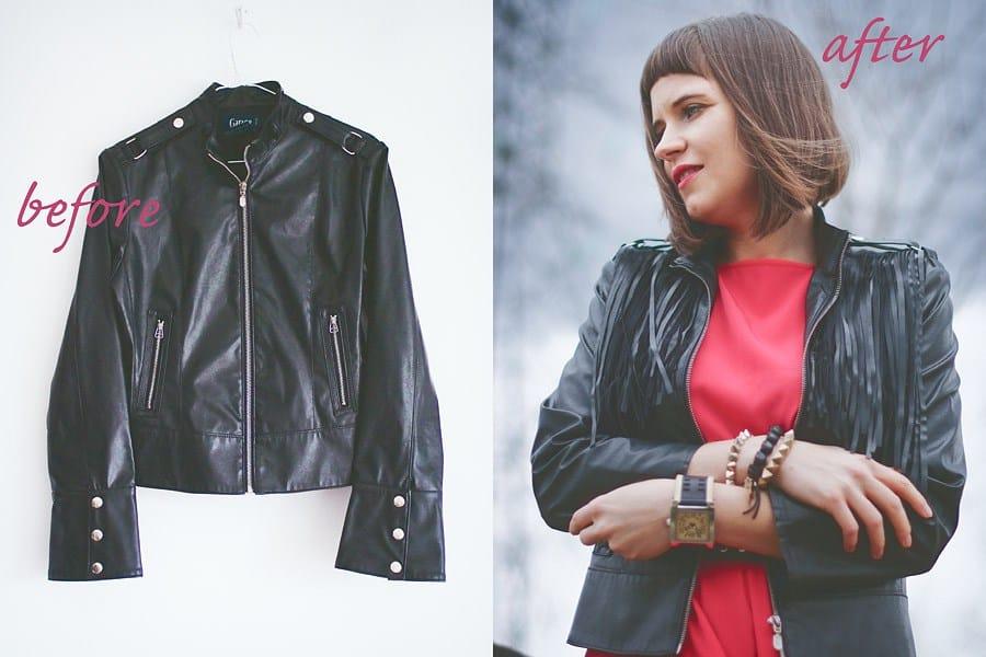 Pleather fringe jacket